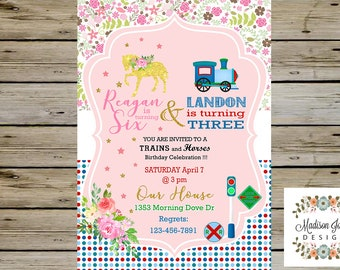 Trains and Horses BIRTHDAY Party INVITATION for SIBLINGS, Brother and Sister - Train Birthday Invite, Horses Birthday Invite