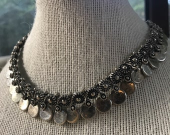 Silver Choker Charm Necklace