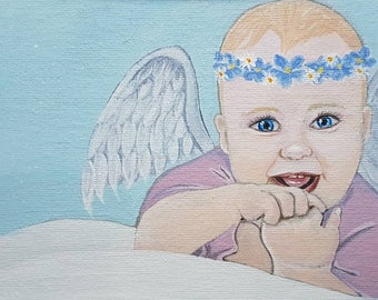 Nevaeh. Original angel baby painting