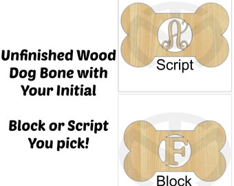 Unfinished Wood Dog Bone Door Hanger Laser Cutout w/ Your Initial, Home Decor, Various Sizes, Ready to Paint