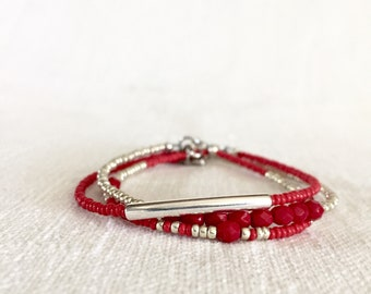 Glass beads bracelet, three strand bracelet, Beaded Jewelry, Minimal, color red, silvered tube, czech fire-polish, charm, 3 strand, red