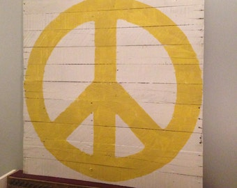 "Peace Sign Wall Hanging White Background with Yellow Peace Sign  36""L x 36""W Reclaimed Pallet Wood"