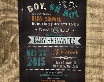Baby boy shower invitation, Co-ed Baby Shower Invitation, Chalkboard Baby Shower Invitation, Blue and Orange, Custom Invitation, Baby Boy