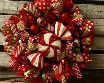 "A Yummy Candy Cane Peppermint Christmas Mesh Ribbon Wreath 23"""