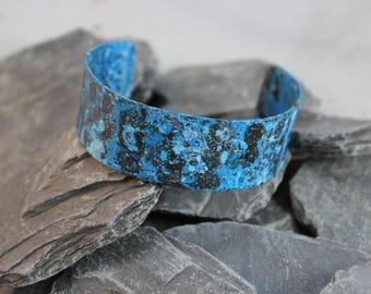 Pretty Blue Patina Copper Cuff Bracelet (123117-002)