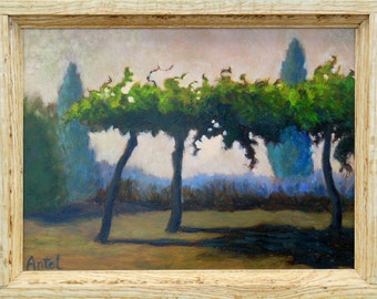 Small Landscape, Small Oil Painting, Daily Painting, Grape Arbor painted on copper in a light oak wood  frame OOAK