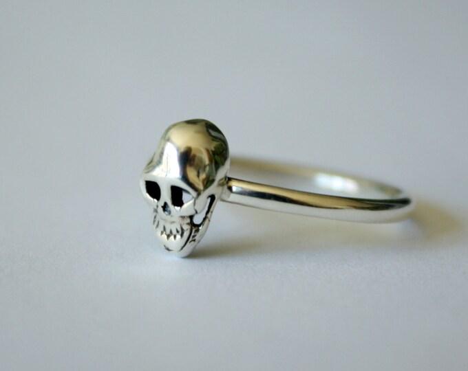 """Petite Mort """"Little Death"""" Skull Ring in sterling silver - sterling silver skull ring - tiny skull ring - skull jewelry - womens skull ring"""