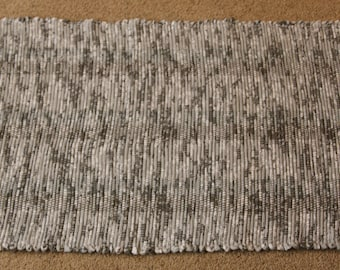 Handwoven Rag Rug - Speckled Grey & White - 44 inches....(#184)
