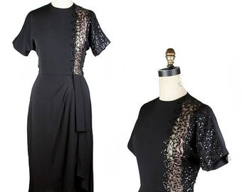 ON SALE 1940s Dress // Black Illusion Lace Panel Sequin Rayon Hip Swag Evening Dress
