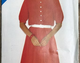 Vintage See & Sew Butterick 3885 / Misses 80s Dress Pattern Size A 8, 10, 12