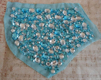 Blue Stone Beaded Sequined Appliques
