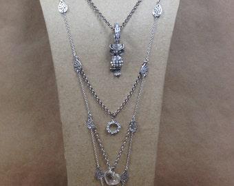 Rhinestone Owl  Multi Tiered Layered Necklace