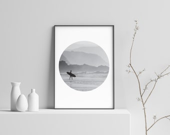 Black & White Morning Surf Modern Beach Print Poster