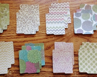 Three each - 24 total assorted mini kraft paper folders die cut for scrapbooking, stamps, crafting, acid and lignin free