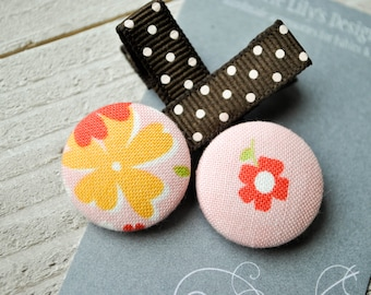 Pink Button Hair Clips, Girl Hair Clips, Baby Hair Accessories, Baby Bows, Baby Hair Clips, Infant Hair Clips, Girl Barrettes, Party Favors