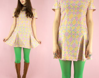 Harlequin Dolly 60s Psychedelic Diamond Minidress