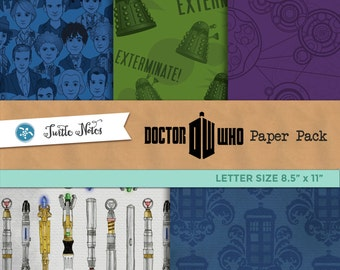 Dr. Who Mega Paper Letter Sized Pack : 42 Printable Digital Scrapbook Papers and 2 Bonus Papers