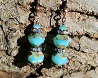 Earrings! Blue Czech Fire Polished Picasso carved  beads with rhinestone spacers, gorgeous!