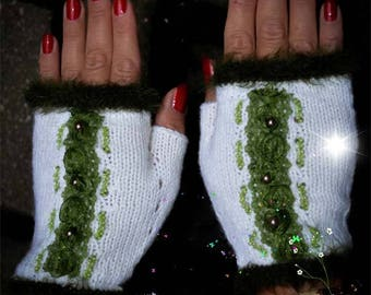 Fingerless gloves, Knitt, White, Arm Warmer, Mittens, Mitts, For her, Accesories, Green, Embroidery