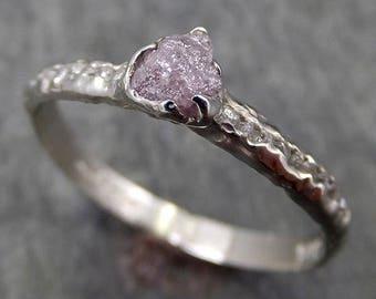 Raw Rough Uncut Diamond Wedding Band 14k White Gold Pink Diamond Wedding Ring byAngeline 0618