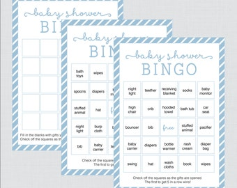 Blue Stripe Baby Shower Bingo Cards - 40 Unique Cards AND Blank Bingo Cards - Digital Instant Download