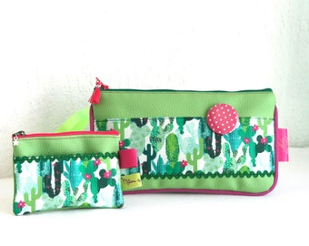 Popsy leatherette pouch set Collection Cactus lime cotton and wallet