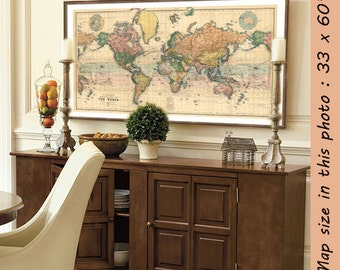 """Map of the World - Large map of the World - Large giclee print - A vintage map for wall decoration - Up to 35 x 63 """""""