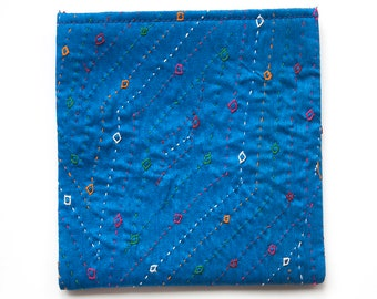 Blue Hand Embroidered Coin Purse, Card Holder Women, Coin Holder
