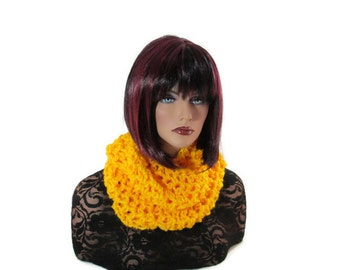 Yellow Cowl, Gold Scarf, Yellow Infinity Scarf, Men Scarf, Citrine Scarf, Yellow Scarf, Medieval, Women Scarf, Knit Scarf, Renaissance, Croc
