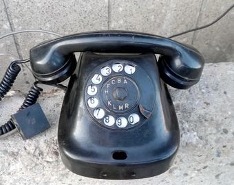 Vintage phone, Retro telephone, Rotary telephone, Bakelite telephone, Bakelite black phone, Bakelite phone from 60s