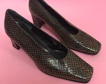 Snakeskin block heels 8
