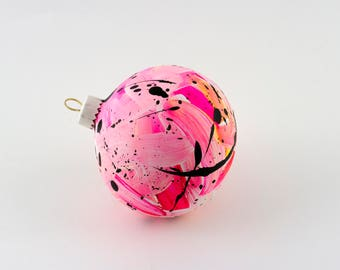 Hand Painted Bauble // Christmas Decoration // Pink and Yellow Limited Edition // God Colours Collection // Ceramic Ornament