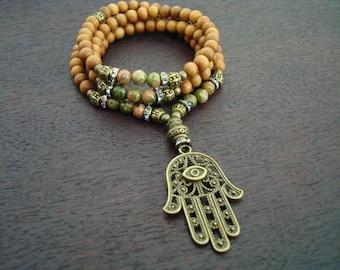 Women's Positivity & Protection Mala // Sandalwood Mala Necklace or Wrap Bracelet // Yoga, Buddhist, Meditation, Prayer Beads, Jewelry