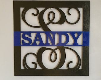 Large Thin Blue Line Customizable Wooden Sign, Law Enforcement Plaque, Police Graduation Gift, Police Week, Deputy Door Hanger, Father's Day