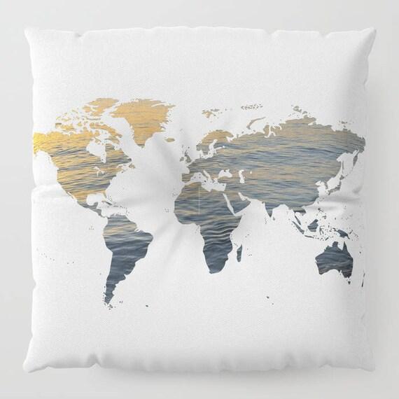 "World Map - Sea Texture FLOOR Pillow, Square 26"" and 30"", Floor Cushion, Dorm, Teen Decor, Office,Home Statement Piece, Hotel, Casino decor"