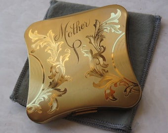 Mother Engraved Compact Elgin American Heavy Gold Case with Cloth Art Nouveau Etched Lid Powder Puff Mother's Day Gift For Mom