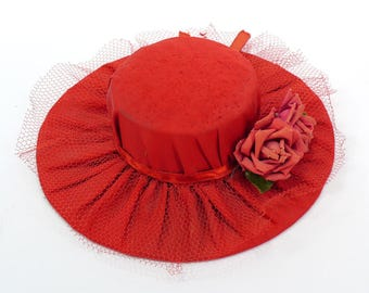 Vintage Red Satin Bolero Hat Pincushion - Rose Pincushion - Vintage Pincushion - Dresser Pincushion
