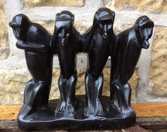 African wooden carving monkeys