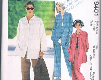 McCall's 9401 Misses Shirt, Pull-on Skirt and Pants Sizes XL 20-22 UNCUT