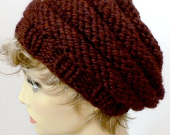 Mens or Womens Hand Knit Beehive Slouch Hat Color Claret Dark Red (H-116)
