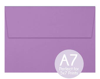 Violet Purple - A7 5x7 Envelopes - 5x7 Invitation Envelopes, Perfect for 5x7 Photo Cards and Invitations, A7 Wedding Envelopes - Set of 10