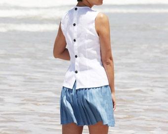 White linen top,Linen blouse, Women Linen clothing, Linen tunic, Button down shirt,White tank top,Button up shirt,Women white top,handmade
