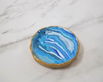 Gold Agate Ocean Ring Dish