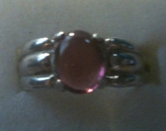 Watermelon Pink Tourmaline  Ring Sterling Silver