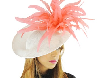 White & Coral Lexi Fascinator Hat For Kentucky Derby Melbourne Cup Ascot (other cols avail)