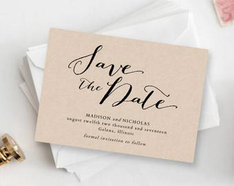 Save The Date Template - Printable Save The Date - Rustic Save The Date Card - Editable Save Our Date Template - COLOR EDITABLE in Word
