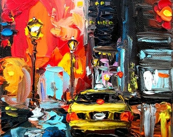 Faces of the City CXV - 8x8 abstract taxi cityscape print reproduction by Aja ebsq