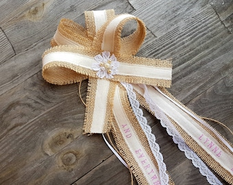 Memorial wedding bow, rustic memorial bow, heartfelt wedding sign