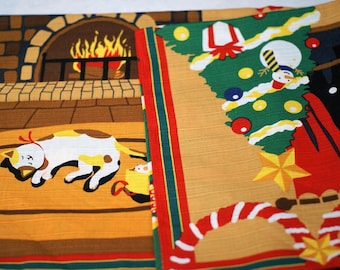 Japanese Fabric Furoshiki Eco Wrapping Cloth Dreaming cat in Cristmas X'mas Cotton 50 x 50cm