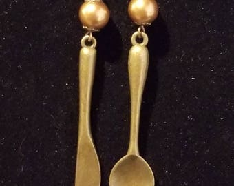 Antique Gold Knife and Spoon Steampunk Earrings